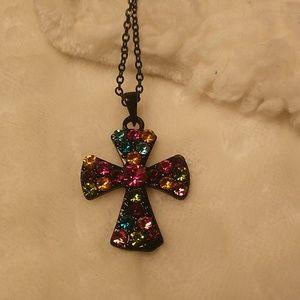 Jewelry - Black multi-color rhinestone Cross Necklace